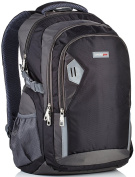 Camden Gear Backpack. Fits up to 43cm Laptop. Rucksack For School - Hiking. Great Bag for Men and Women. Water Resistant, Best with Multiple Compartments. Black and Grey