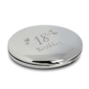 Butterfly Motif Round Compact Mirror 18th Birthday With Pouch