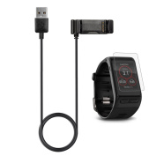 Garmin Vivoactive HR Charger With Screen Protector (1m), TUSITA Replacement USB Charge Charging Cable Wire Cord Dock Clip Data Sync For Garmin Vivoactive HR