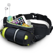 Fanny Pack MY CARBON Waist Pack with Water Bottle Holder Waterproof Running Belt Fits iPhone 7/6S Plus Galaxy S6 S7 Note 6 Reflective Water Bottle Pack for Running Hiking Travel Activities-Black