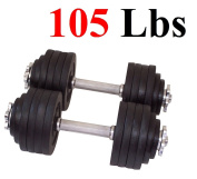 One Pair of Adjustable Dumbbells Cast Iron Total 48kg (2 X 48kg) by Unipack