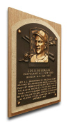 MLB Cleveland Indians Lou Boudreau Baseball Hall of Fame Plaque on Canvas, Medium, Brown
