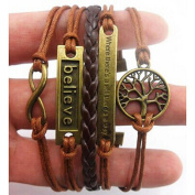 RIUDA Handmade Adjustable Tree For Life Believe Multilayer Bracelet Wristband