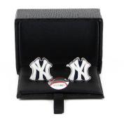 MLB 1.9cm NY New York Yankees Sports Team Logo Cut Out Cufflinks Engraved Design Gift Box Set