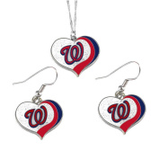 Washington Nationals MLB Sports Team Logo Charm Gift Glitter Heart Necklace and Earring Set
