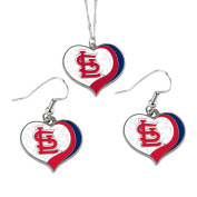 St Louis Cardinals MLB Sports Team Logo Charm Gift Glitter Heart Necklace and Earring Set