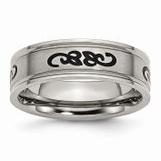 Best Designer Jewellery Titanium Black Rubber Ridged Edge 7mm Brushed Band