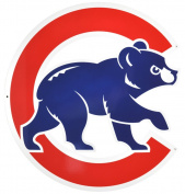 Chicago Cubs Bear in C Lasercut Steel Logo Sign Wall Sign 50cm x 50cm