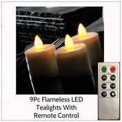 Garden Mile® 9Pc Ivory Flameless Flickering Battery Operated LED Large TeaLight Votive Candles With Remote Control