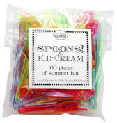 Plastic Ice Cream Spoon Ice Cream Spoon, Ice Cream Spoons - Pack of 100, Mixed Colours, Ideal for Summer
