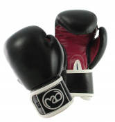Boxing-Mad Women's Fit Leather Pro 240ml Sparring Gloves - Black/Red