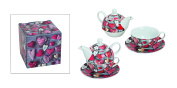 Tea for One Teapot Style Hearts Set of 4 Porcelain