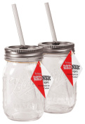 Carson Home Accents The Original Red Nek Sipper Drinking Jar, 470ml, Set of 2