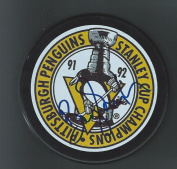 Barry (Colorado Rockies) Smith Autographed Puck - 1992 Stanley Cup Pittsburgh Penguins - Autographed NHL Pucks