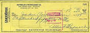 ALLIE REYNOLDS SIGNED JSA CERTED 1986 cheque AUTHENTIC AUTOGRAPH