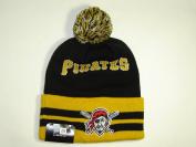 New Era MLB Pittsburgh Pirates Striped Cuffed Knit Pom Beanie Cap NewEra
