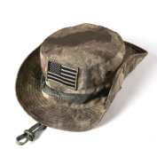Sinddy Military Tactical Head Wear/boonie Hat Cap for Wargame,Sports,fishing & Outdoor Activties Acu Camouflage with USA Patch