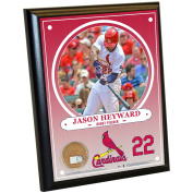 MLB St. Louis Cardinals Jason Heyward Plaque with Game Used Dirt from Busch Stadium, 20cm x 25cm , Navy