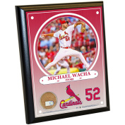MLB St. Louis Cardinals Michael Wacha Plaque with Game Used Dirt from Busch Stadium, 20cm x 25cm , Navy