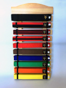 Ten Level Martial Arts Karate Taekwondo Judo Belt Display Holder hand made quality (thicker) wood nice finished