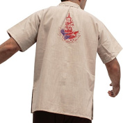 RaanPahMuang Light Cotton Poets Shirt with Chinese Poem Print and Handpainted Thai God