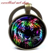 Tiger keychain, Tiger Pendant tiger keychain PendantCharm Art gift for men for women multicolor
