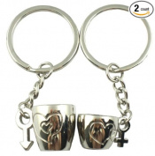 4EVER Love Heart Carved Mug Cup Couple Keychains (with Gift Box and Greeting Card) for Valentine's Day Anniversary Wedding