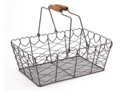 Heart Vintage Wire Basket Metal Grey Rectangular Kitchen Garden Wedding Shabby Trug