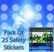 Circular Safety Stickers Decals for Glass Windows Etched Effect - Pack of 25