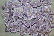 Lilac satin flower & pearl bows 20pcs wedding  stationery  scrapbook embellishment trim