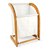 Relaxdays Bamboo Laundry Bin/Basket Clothes Container Storage Solution, White