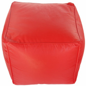 Faux Leather Red Footstool Pouffe Cube Seat Bean Bag with Filling