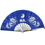 Apint Fan Stainless Steel Frame Mascot Double Dragon Design Chinese Kung Fu Martial Tai Chi Fan Blue