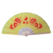 OPACC 38cm Bamboo Chinese Fan Tai Chi Kung Fu Folding Fan With Dragon Design