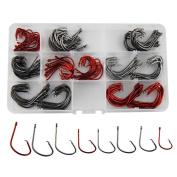 Shaddock Fishing ® 160pcs/box 7381 Offset Sport Circle Hooks Black High Carbon Steel Octopus Fishing Hooks-Size:#1-5/0
