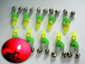 1 X 10x LED Twin Bell Fishing Tackle Green Rod Clip Tip Lights Bite Alarm Bait Alarm Fishing Alarm