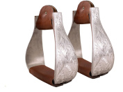 Tahoe Tack Silver Aluminium Engraved Stirrups for Western Horse Show Saddles