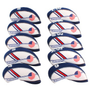 Craftsman Golf White & Blue US Flag Neoprene Golf Club Head Cover Wedge Iron Protective Headcover For Titleist, Callaway, Ping, Taylormade, Cobra, Nike, Etc.