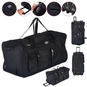 90cm Rolling Wheeled Tote Duffle Bag Carry On Luggage Travel Suitcase Black Durable Material And Solid Construction Great Volume Capacity