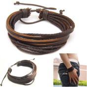 Casual Mens Surfer Tribal Wrap Multilayer Genuine Leather Cuff Bracelet Brown