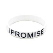 Generic 1X White I PROMISE Printed Silicone Wristband Black Bracelet