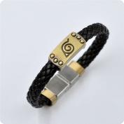 Naruto Konoha Logo Leather Bracelet Fashion Personality Magnetic Snap Braclet Alloy Cosplay