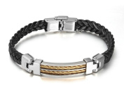 Mens Stainless Steel Leather Bracelet Basket Weave Cord Chain 23CM Black - Adisaer Jewellery