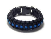 Paracord Survival Bracelet Black Thin Blue Line Police