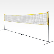 Portable Badminton Net Size Adjustable - 6.10m x 1.55m (20 feet x 5.1 feet) - Transformable into Tennis Net Official Size 5.50m x 0.90 (18 feet x 3 feet) for under 10s competition - Foldable feet for easy storage against a wall