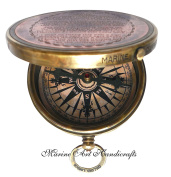 """Robert Frost Poem"" Engraved Brass Compass with Embossed Needle & with Leather Case. C-3241"