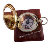 Handmade Brass Push Button Direction Compass POCKET COMPASS with Rose Wood Box. C-3191