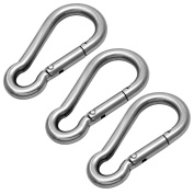 Hamma 3 Pack Carabina / Carabiner / Carbine Clip 8mm x 80mm - A4 316 Stainless Steel Marine Grade