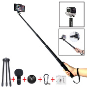 Selfie Stick, Foneso Wiressless Selfie Stick Ultra Compact Durable Selfie Monopod with Tripod for iPhone 6s/6s Plus/6/6 Plus,Android Smartphones With A Wide-Angle Lens,Black