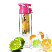 Demarkt 800ml Pink Fruit Infusing Water Bottle with Fruit Infuser and Flip Lid Lemon Juice Make Bottle- BPA Free